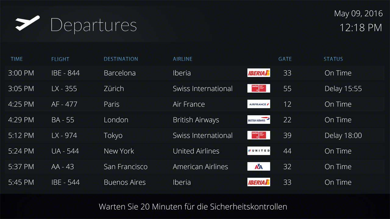 Flight Information Display Templates for Airports
