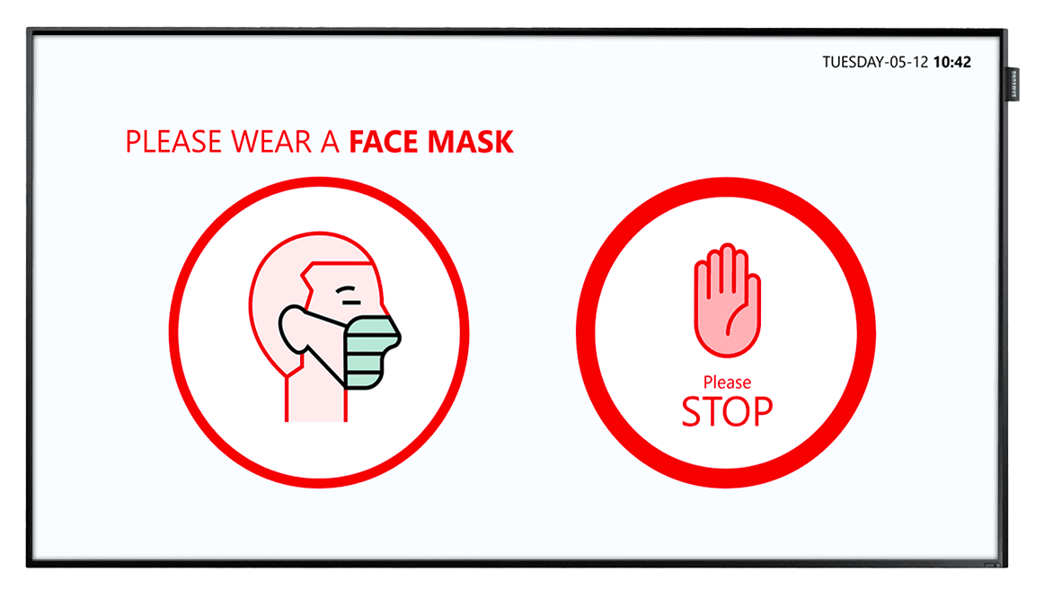 Man wearing a mask and a stop icon